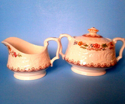 Booths Wild Rose Creamer and Sugar Bowl With Lid, Corinthian Embossed Antique