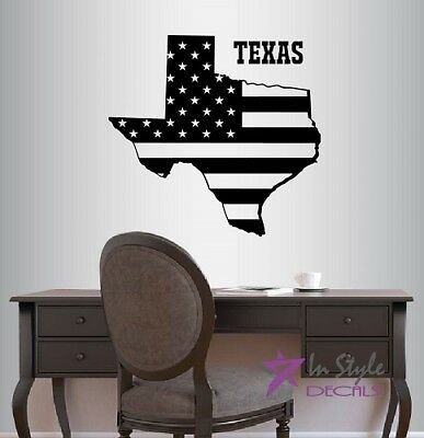 Wall Stickers Vinyl Decal Texas Lone Star Cowboy US Biggest State em378 .