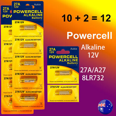 12 x 27A Powercell 12V 27A/A27 Battery Batteries Garage Car Remote Alarm(10 +2)