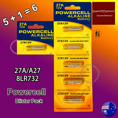 6 x 27A Powercell 12V 27A/A27 Battery Batteries Garage Car Remote Alarm[5+1=6 ]