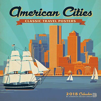 American Cities - Classic Travel Posters - 2018 Wall Calendar - Brand New 181722