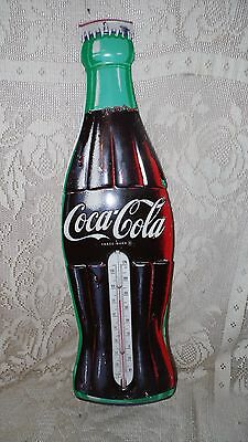 "Vtg Original Large Coca Cola Metal Thermometer Made In The Usa Stamped 29"" Tall"