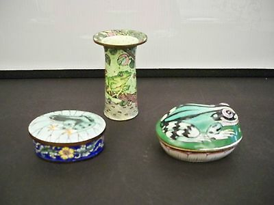 2 Frog Trinket Boxes And Frog Minature Vase