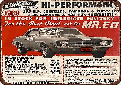 "7"" x 10"" Metal Sign - 1969 Brigance Chevrolet Performance Ad - Vintage Look Repr"