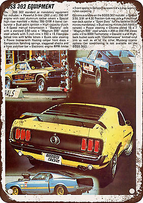 "7"" x 10"" Metal Sign - 1969 Ford Mustang Boss 302 Rear - Vintage Look Reproductio"