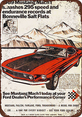 "7"" x 10"" Metal Sign - 1969 Ford Mustang Mach 1 at Salt Flats - Vintage Look Repr"