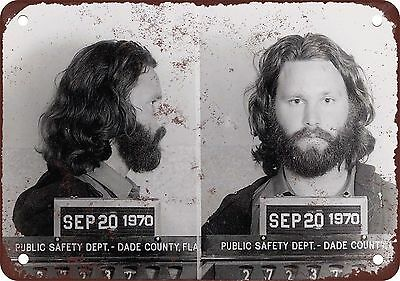 "7"" x 10"" Metal Sign - 1969 Jim Morrison Mug Shot for Exposure - Vintage Look Rep"
