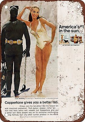 "7"" x 10"" Metal Sign - 1969 Julie Newmar for Coppertone - Vintage Look Reproducti"