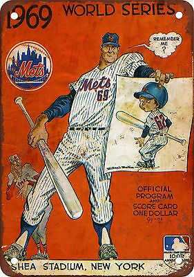 "7"" x 10"" Metal Sign - 1969 World Series Mets vs. Orioles - Vintage Look Reproduc"