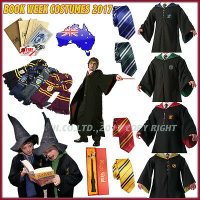 Unisex Harry Potter Gryffindor/Slytherin Robe Cloak &Tie Scarf Cosplay Costume