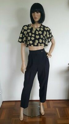 VINTAGE. Size 12. Black. High Waisted. Antique Gold Side Button. Made In AU