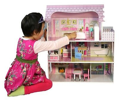 "Wooden 25"" Dolls House 3 Story Pink Mansion Furniture fits Barbie Dollhouse NEW"
