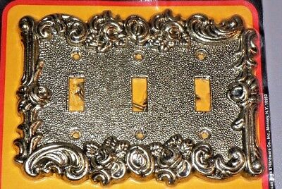 Vtg. 60's Brass Metal Rose Bud Triple Toggle Light Switch Plate Wall Cover New