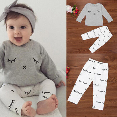 77cfaee4ac4 Newborn Baby Boy Girl Cute Eyelash Print T-shirt Tops+Pants Outfits Clothes  Set