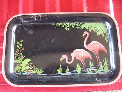 "Vintage Metal Very Used FLAMINGO Tray, Rectangle 14 1/4"" x 9"".. Worn on Rim"