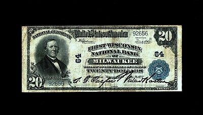 Milwaukee, WI - $20 1902 Plain Back Fr. 661 First Wisconsin NB Ch. # 64