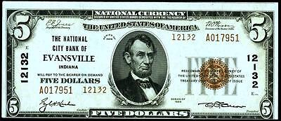 Evansville,IN $5 1929 Ty 2 The National City Bank #12132~UNCIRCULATED~HIGH GRADE