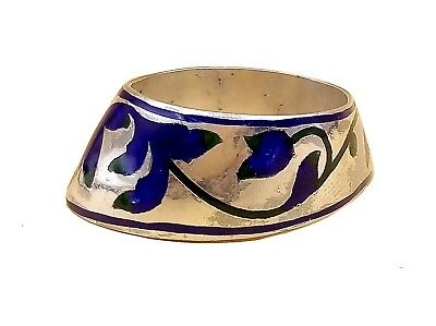 Antique Vintage Mughal Archer Ring Archery Thumb Ring Blue Green Enameled