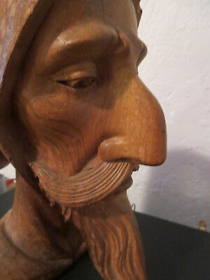 Antique Stunning Hand Carved Don Quixote Wood  Head Bust Statue