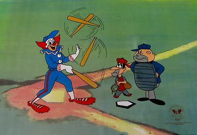 BOZO THE CLOWN PLAYS BASEBALL Larry Harmon Sericel Animation Cel