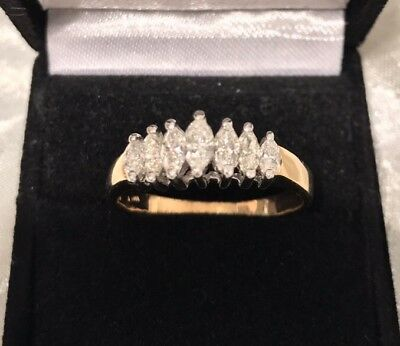 Genuine 14k Yellow Gold 0.96CT Diamond Dress Ring With Val. Cert. Of 4,850