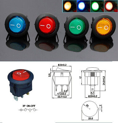 12V 16A NEW LED Light ROCKER SWITCH - 4 COLOURS OPTIONS: Red|Green|Blue|Yellow