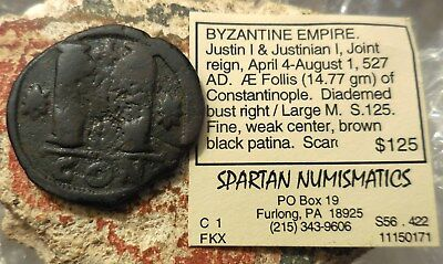 BYZANTINE EMPIRE. Justin I & Justinian I, Joint reign, April 4-August 1, 527 AD.
