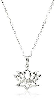 Sterling Silver Diamond Accent Lotus Flower Pendant Necklace 18""