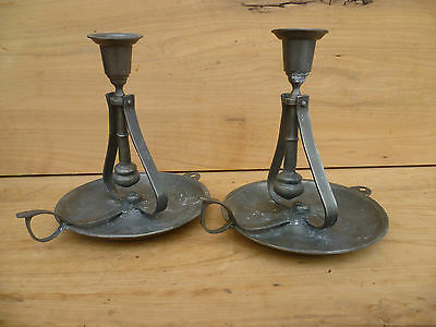 Old Rare Pewter, Metal Ships, Boats Swinging Candle Sticks Set '2' (453)