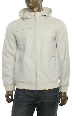 New Inc International Concepts Men's Faux Leather White Full Zip Hooded Jacket