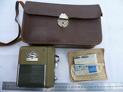 Vintage Old Eumig Electric Movie Camera With Manuals & Leather Case,