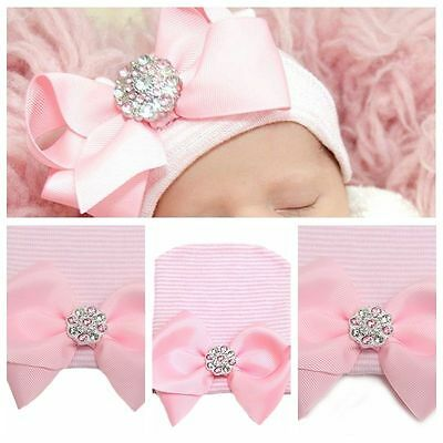 0~3 Months Newborn Pink Baby Infant Girl Bowknot Diomand Hospital Cap Beanie Hat