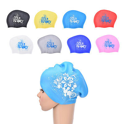 Women swimming caps Silicone Long Hair Girls Waterproof Swimming Cap Ear Cup ZY