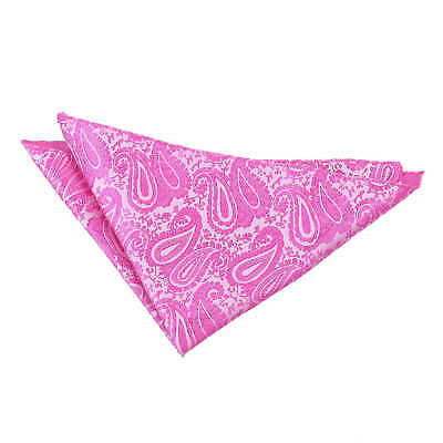 Fuchsia Pink Handkerchief Hanky Floral Paisley Mens Formal Accessories by DQT