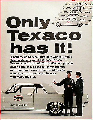 Texaco Service Station Vintage 1965 Ford Original Print Ad / Advertisemt
