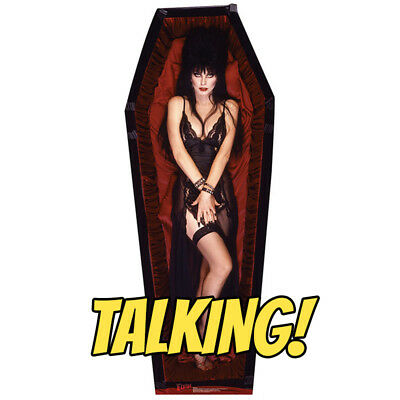 ELVIRA TALKING Mistress of Dark CARDBOARD CUTOUT Standup Standee Poster Coffin
