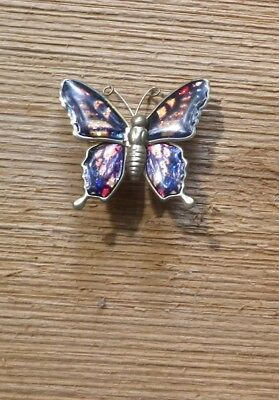 "Vintage Enamel Butterfly Japan 1980s ""tin"" Insect Brooch-NZ antique Estate"