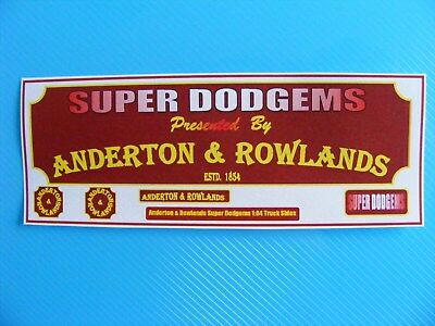 Anderton & Rowlands Super Dodgems 1:64 Lorry Side Conversion Sticker Set