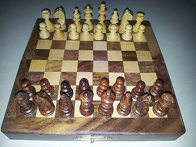 """10""""X10"""" Inches Handmade Wooden Traveling 32 Chess Pieces And Board Set"""
