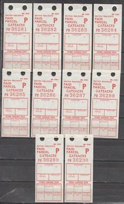 British Railways 10 x Pre-Decimal Paid Parcel Labels For Gateacre On The Disused