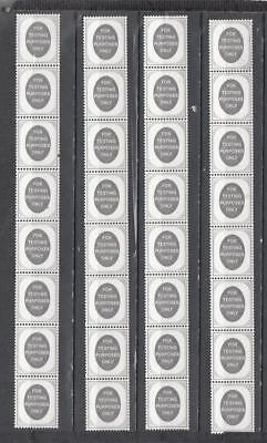 Four Coil Strips Of 8 Stamps For Testing Purposes Only No Watermark All Unmounte
