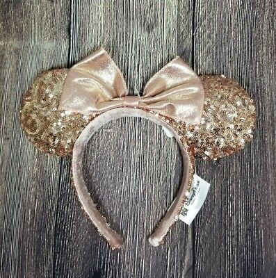 Disney Parks Disneyland Minnie Mouse Rose Gold Champagne Ears Headband