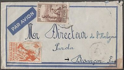 Cote D' Ivoire Africa 2 Values On 1946 Togo Airmail Cover To Besancon France
