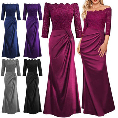 UK Womens Lace Long Formal Wedding Evening Ball Gown Party Prom Bridesmaid Dress
