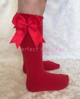 Christmas Knee High Red Green Spanish Double Bow Socks Baby, Girls, Party