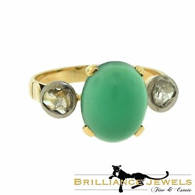Victorian Era Cabochon Chrysoprase and Rose Cut Diamond Gold Ring, 19th Century