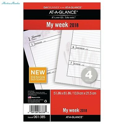 AT-A-GLANCE Day Runner Weekly Planner Refill, January 2018 - December 2018, 5-1/