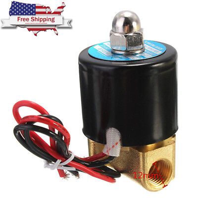 """1/4"""" Solenoid Valve 12V DC 2W Brass Air Water Gas Diesel Fuels Normally Closed"""