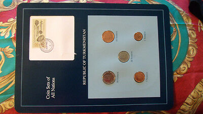 Coin Sets of All Nations Turkmenistan w/card UNC 1, 5, 10, 20, 50 Tennesi 1993