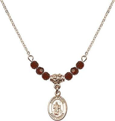 Gold Plated Necklace with Garnet Birthstone Beads & Saint Maron Charm.